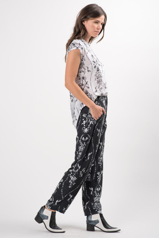 Folk Damask Linen Dakota Top | Ruti