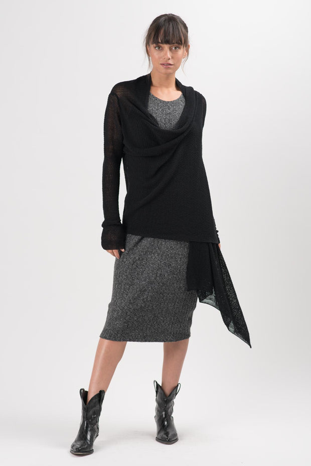 Heathered Charcoal Ribbed Koko Sleeveless Dress