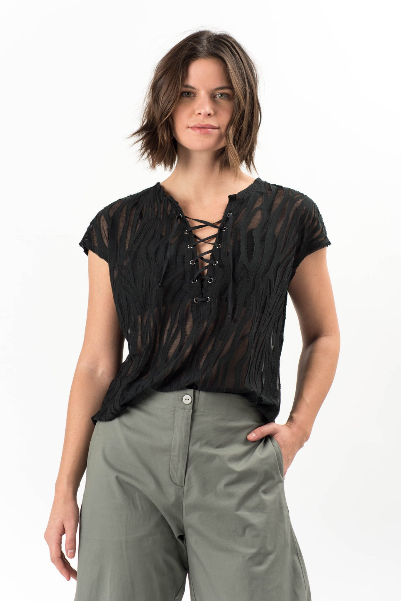 Darwin Lace Up Top