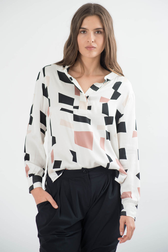Lorelai Printed Silk Blouse