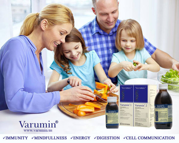 A commercial for Varumin, family having a healthy meal
