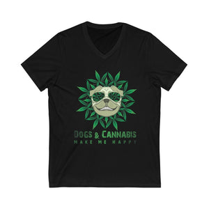 Dogs & Cannabis Make Me Happy V-Neck Tee