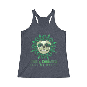 Dogs & Cannabis Make Me Happy Racerback Tank