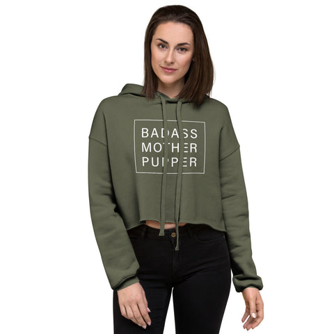 Badass Mother Pupper Cropped Hoodie