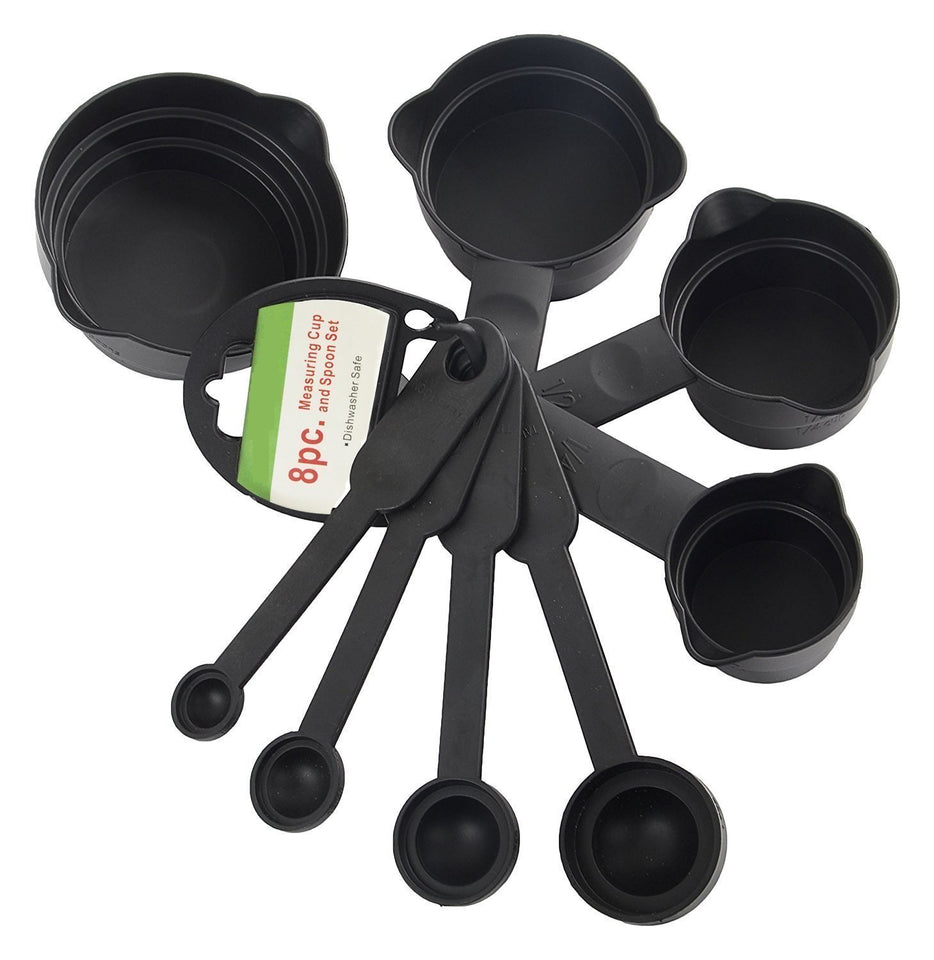 106 Plastic Measuring Cups and Spoons (8 Pcs, Black)