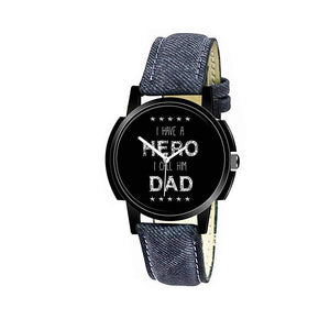 wt1012- Unique & Premium Analogue Watch I have a HERO I call him DAD Print Multicolour Dial Leather Strap (Hero Dad 12)