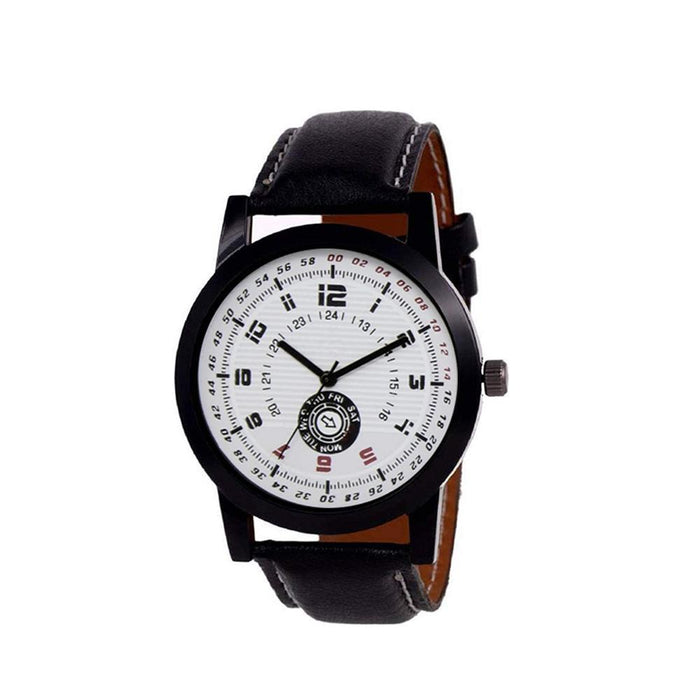 wt1008- Unique & Premium Analogue Watch White Print Multi colour Dial Leather Strap (Watch_8)