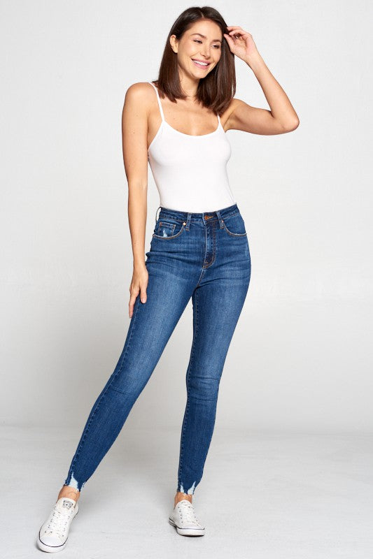 High Rise Destroyed Hem Skinny Jeans