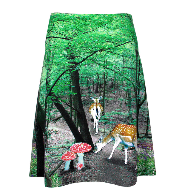 Flared reversible skirt forest bathing/flower dew