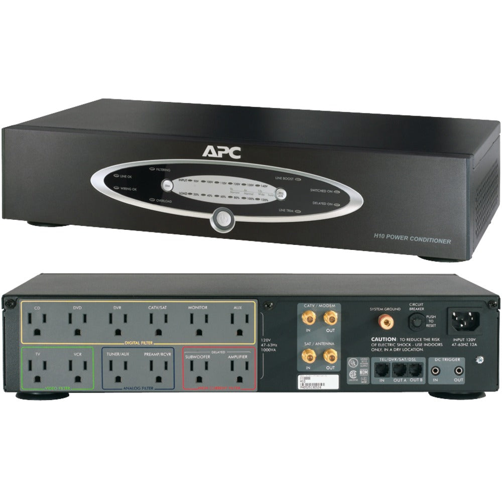 Apc 12-outlet H-type Rack-mountable Power Conditioner With Coaxial Protection (pack of 1 Ea)