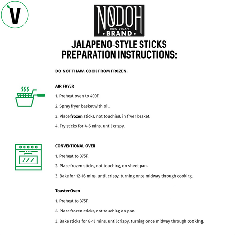 NoDoh Jalapeno Vegan Mozzarella Sticks Instructions