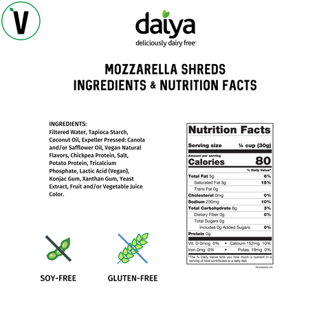 Daiya Vegan Mozzarella Cheese Shreds nutrition