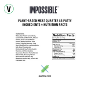 Impossible Burger 2.0 Vegan Burger nutrition