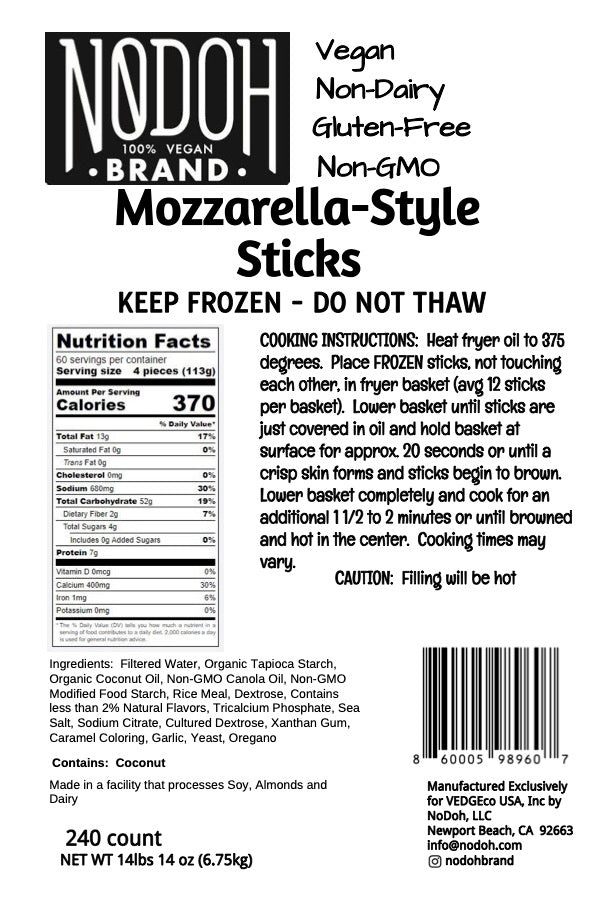 NoDoh Brand Mozzarella-Style Sticks Unfried nutrition and deep fry instructions