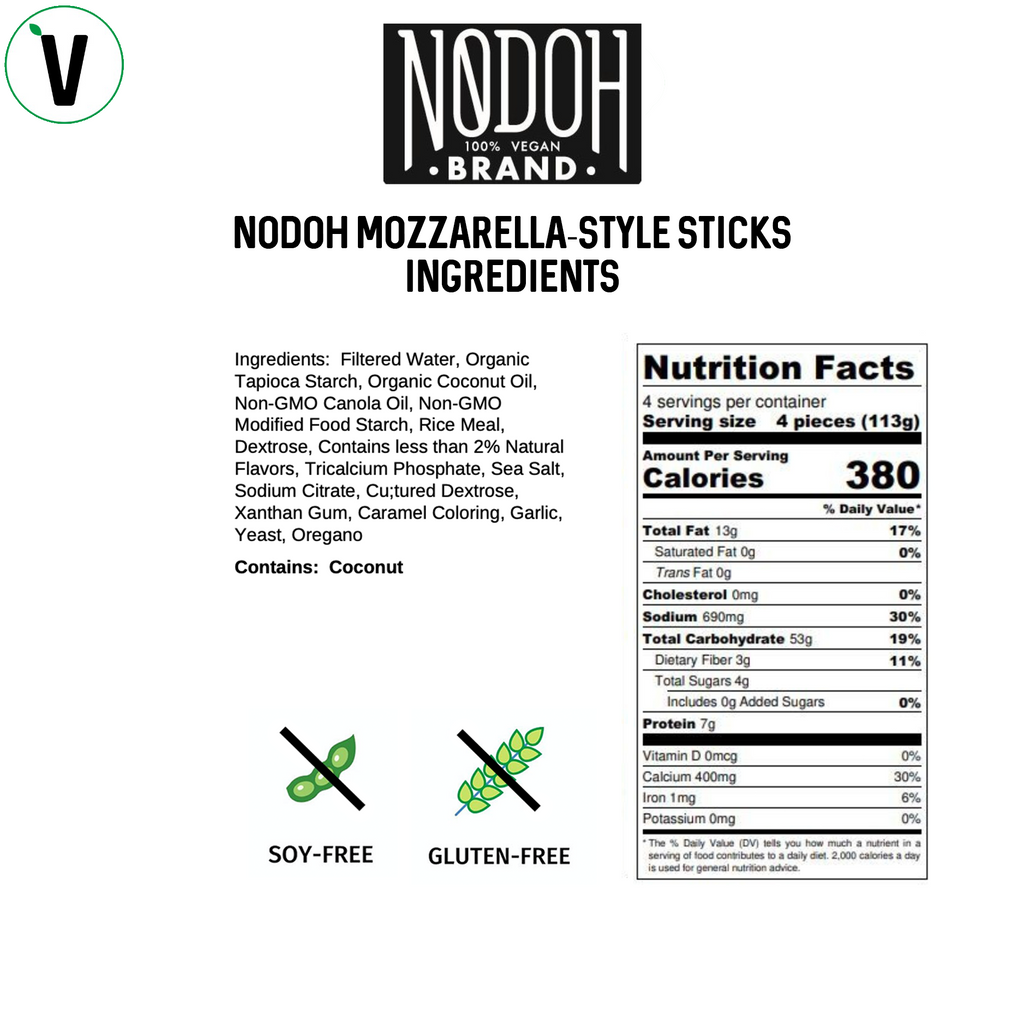 NoDoh Vegan Mozzarella Sticks Nutrition
