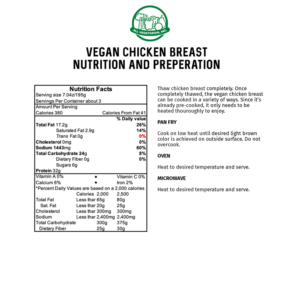 All Vegetarian Vegan Chicken Breast Cutlets nutrition and cooking instructions