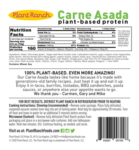 Plant Ranch Carne Asada Plant-Based nutrition