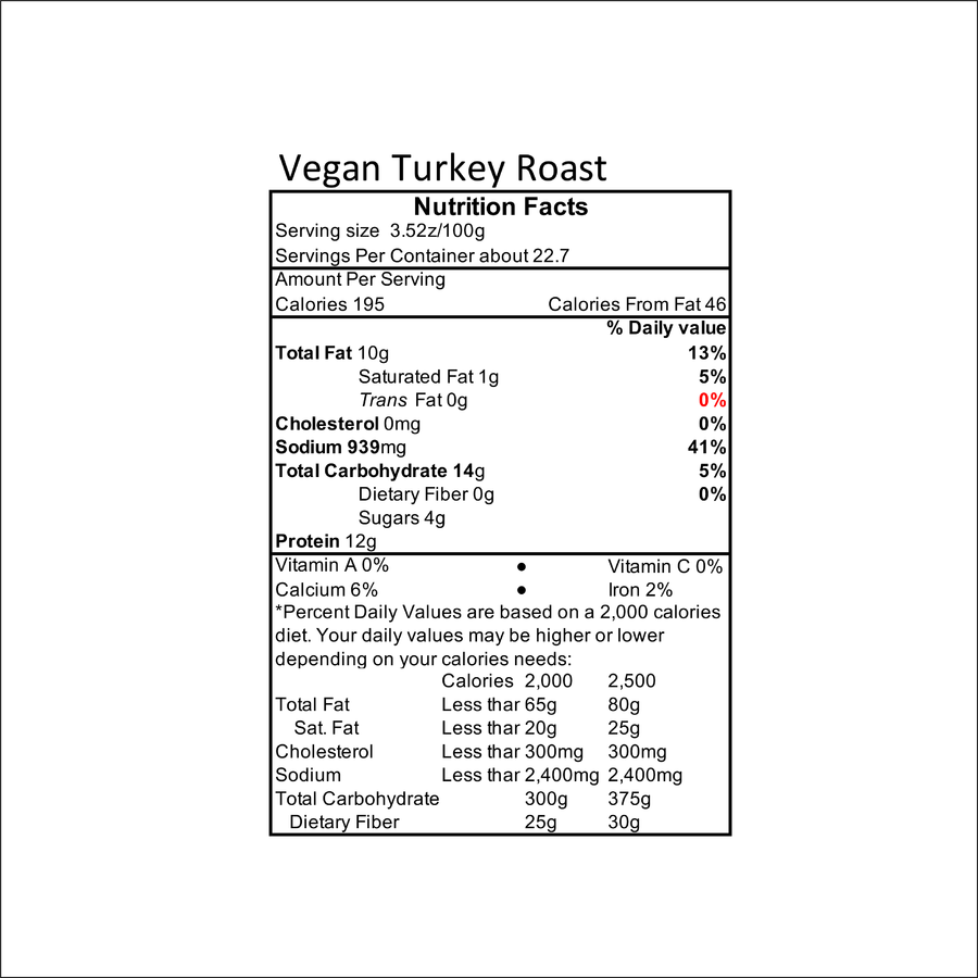 All Vegetarian Vegan Thanksgiving Turkey Roast nutrition