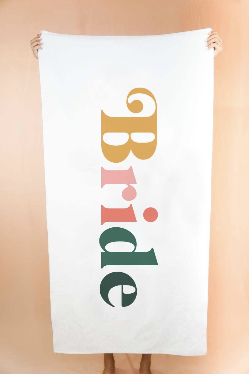 Custom Retro Bride Beach Towel - Shop Tilde