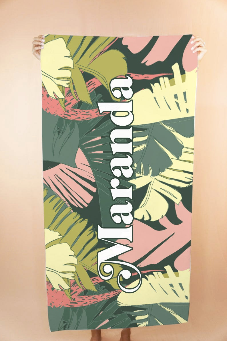 Custom Palm Leaves Beach Towel - Shop Tilde