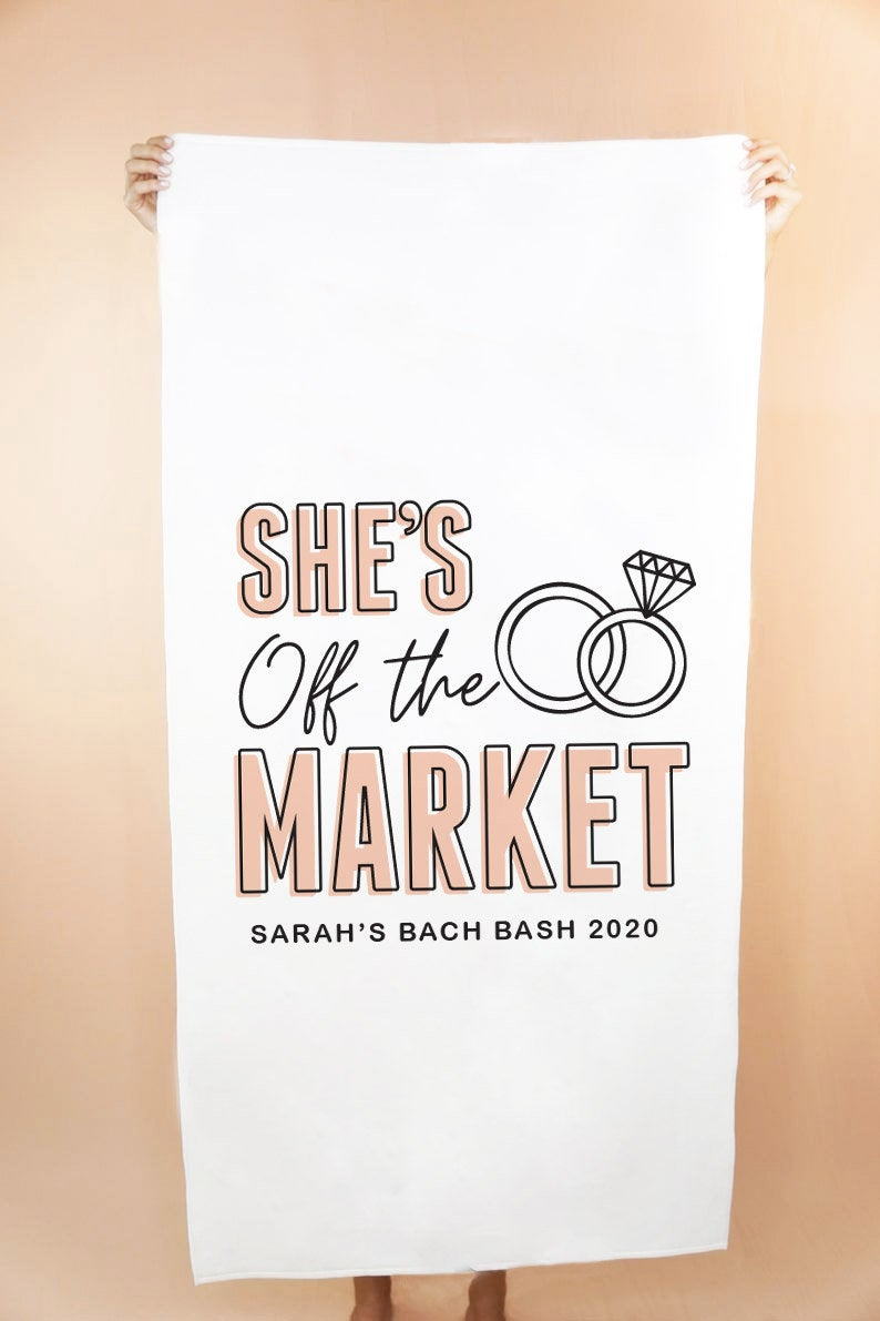 She's Off The Market Custom Beach Towel - Shop Tilde