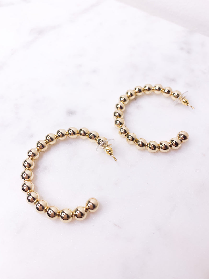 Gold Beaded Hoop Earrings | Gold Hoop Earrings | Statement Jewelry | Minimalist Jewelry | Gold Hoops | Drop Hoop Earrings | Beaded Earrings - Shop Tilde