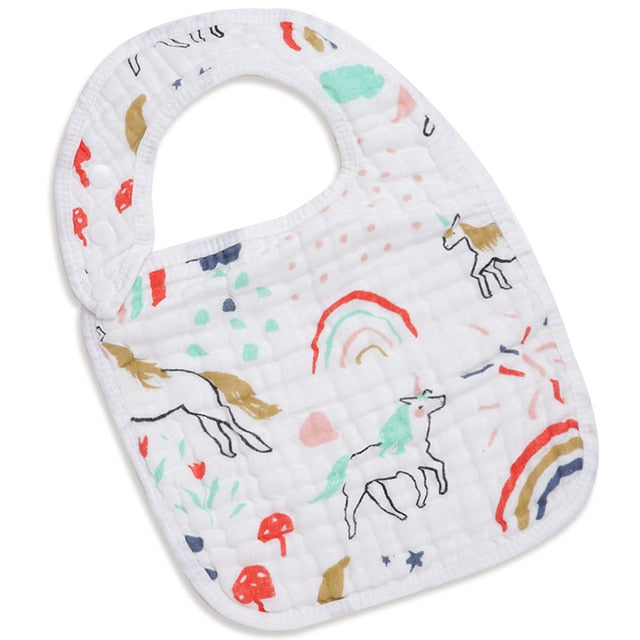 Muslin Cotton Baby & Toddler Bib (Rainbows & Unicorns) - Shop Tilde