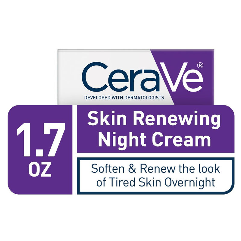 CeraVe Skin Renewing Night Cream | Niacinamide, Peptide Complex, and Hyaluronic Acid Moisturizer for Face | 1.7 Ounce(48 g)