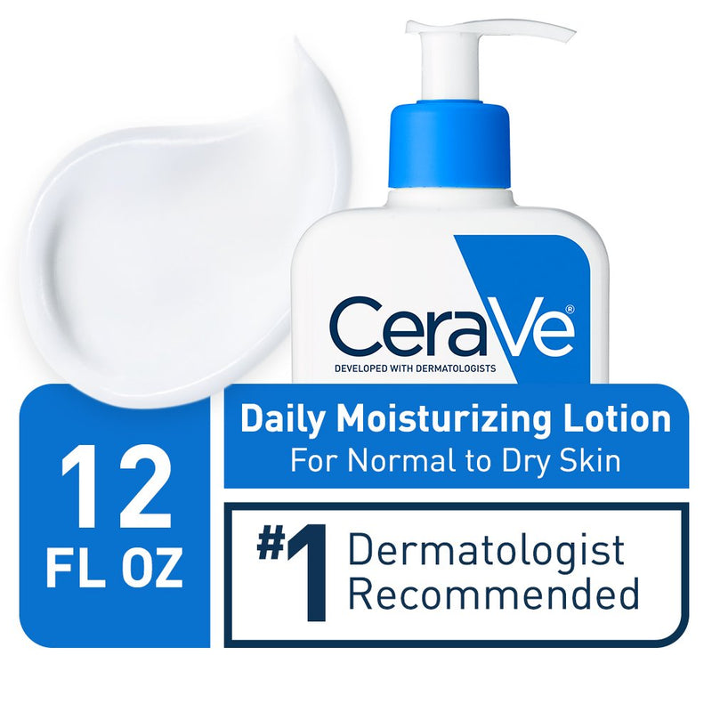 CeraVe Daily Moisturizing Lotion for Dry Skin | Body Lotion & Facial Moisturizer with Hyaluronic Acid, Niacinamide and Ceramides | Fragrance Free | 12 Ounce (355 ML)