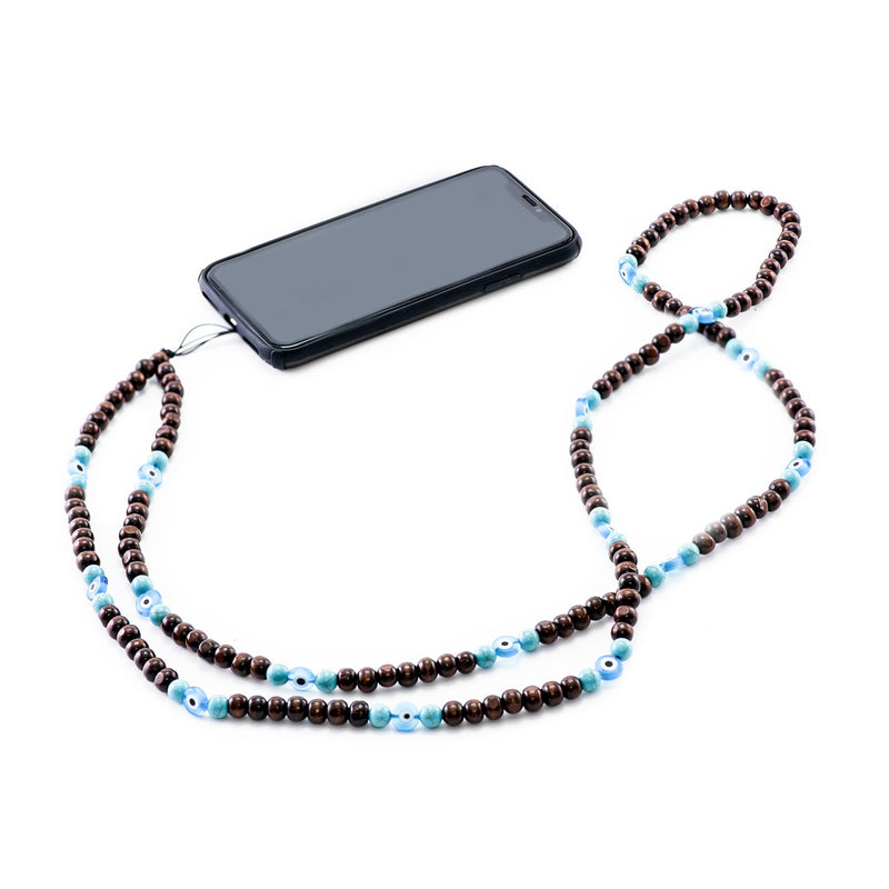 Brown and Blue Beads Phone Strap