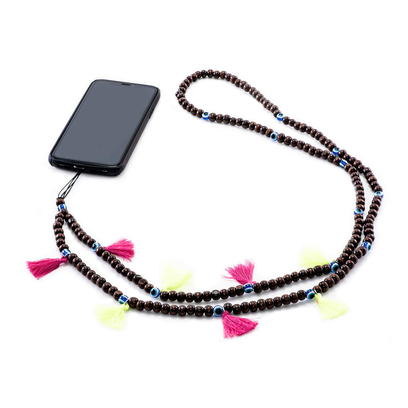 Brown Beads Phone Strap with Pink and Neon Green Tassels Phone Strap