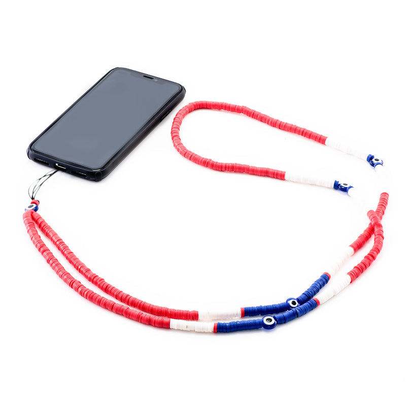 Red, Blue and White Rubber Phone Strap