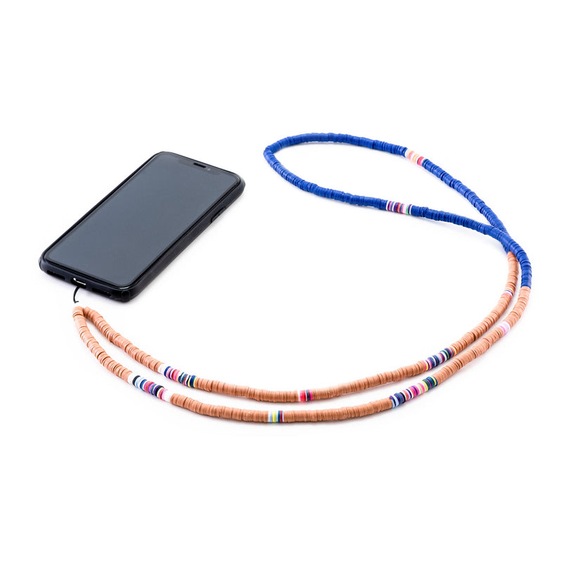 Decorated Brown and Blue Rubber Phone Strap