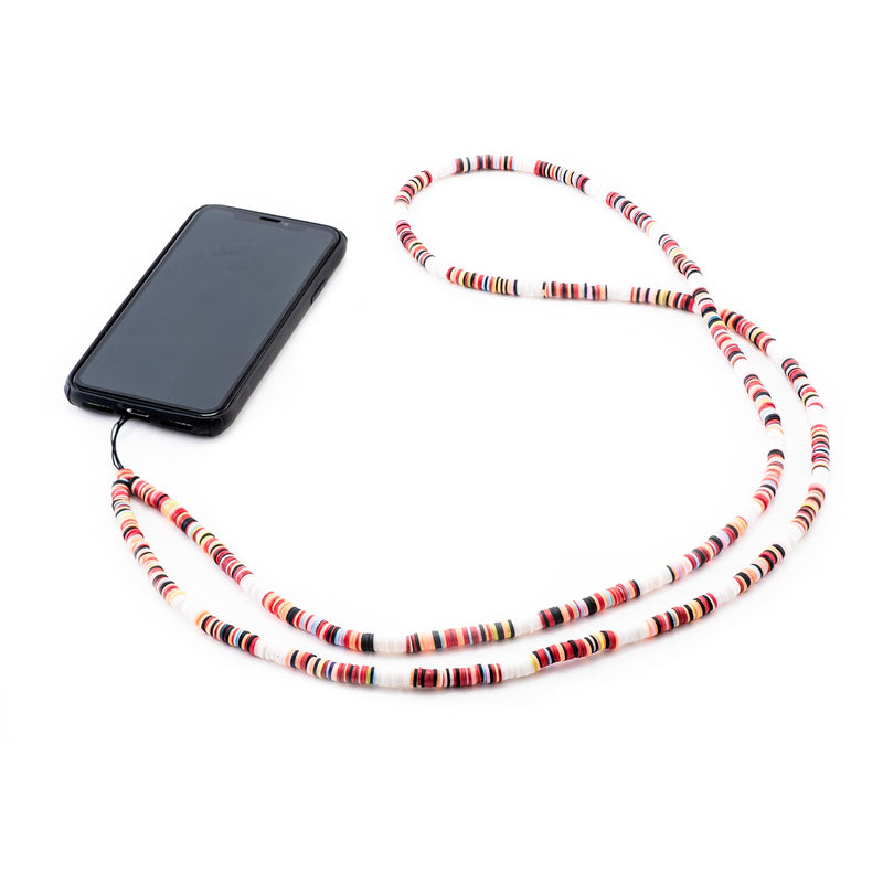 Decorated White Rubber Phone Strap
