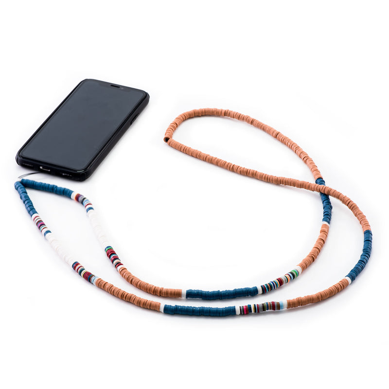 Decorated Brown, Blue and White  Rubber Phone Strap
