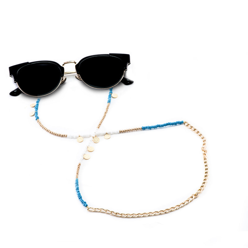 Decorated Blue and White Metal Glasses Chains