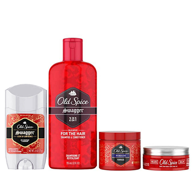 Old Spice 2in1 Shampoo + Deodorant + Beard Balm + Hair Pomade (4 Pcs)