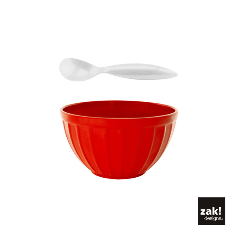 Zak Bowl & Spoon (Red) 2 Pcs