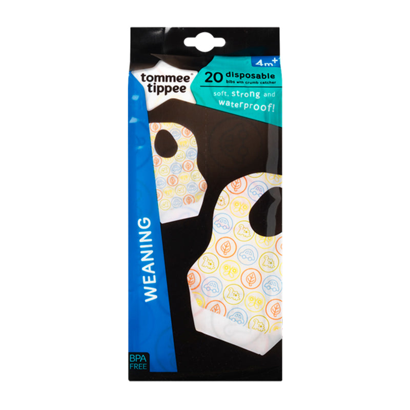 Tommee Tippee Weaning Disposable Bibs (Set of 20) ages 4 Months + Multi