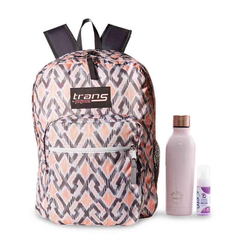 "JanSport 17"" SuperMax Backpack - Gray/Coral + Root7 Bottle with a Free Sanitizer"