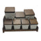 Marble White Decorated Spice Containers with Base & Lids Set 15 pcs