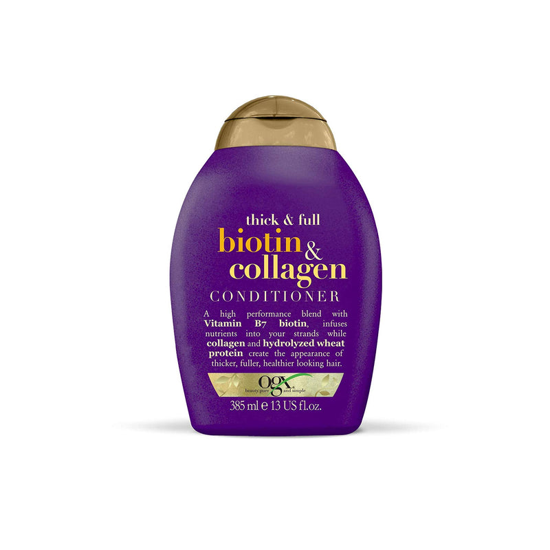 OGX Thick & Full Conditioner Infused With Vitamin B7 Biotin, Collagen & Hydrolyzed Wheat Protein (385 ml)