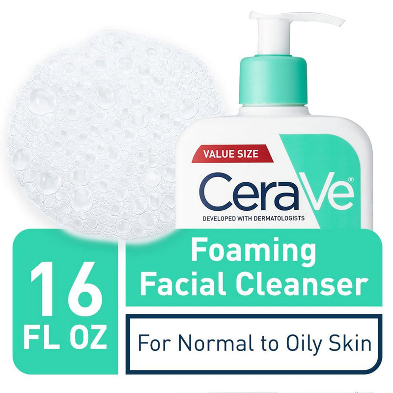CeraVe Foaming Facial Cleanser | Makeup Remover and Daily Face Wash for Oily Skin (473 ml)