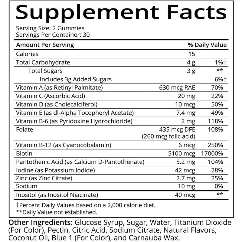 SugarBearHair Vitamins, Vegan Gummy Hair Vitamins with Biotin, Vitamin D, Vitamin B-12, Folic Acid, Vitamin A 60 Gummy Bears