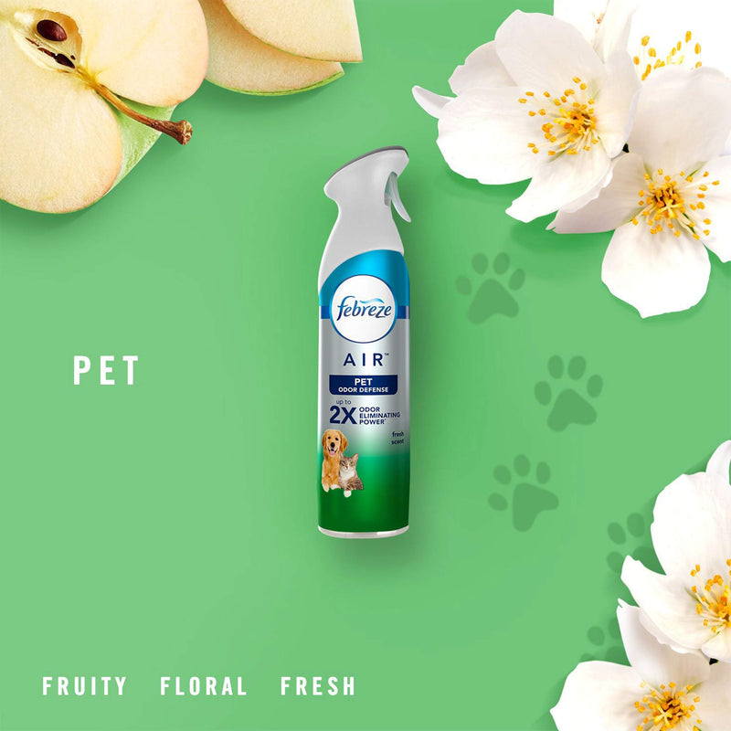 Febreze Air Freshener Spray - Pet Odor Defense - Fresh Scent - Up to 2X Odor Eliminating Power - (250 g)
