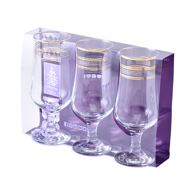 Glass Stemware set Minerva Gold and Platinum 385 ml set of 3 pcs