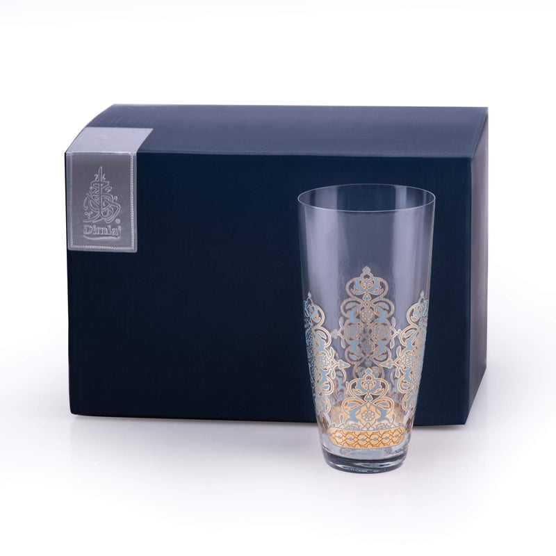Dimlaj Set of 6 Pcs Highball Tumblers (Gold & Blue)