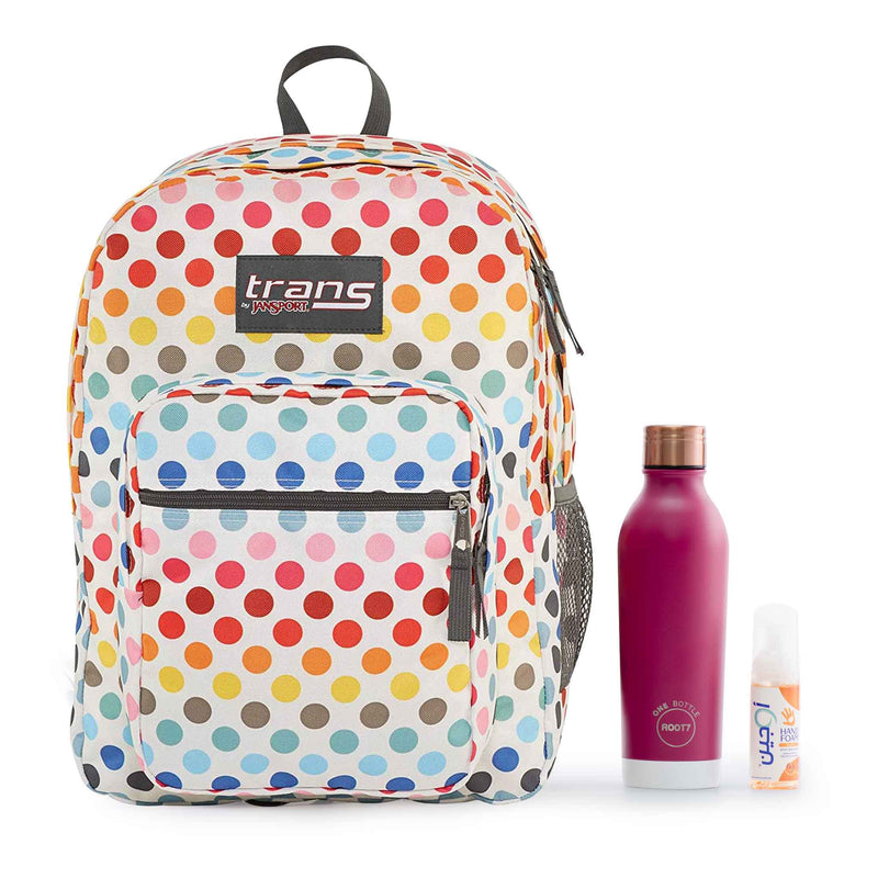 "Jansport Trans 17"" Supermax Rainbow Dot Backpack + Root7 Bottle with a Free Sanitizer"