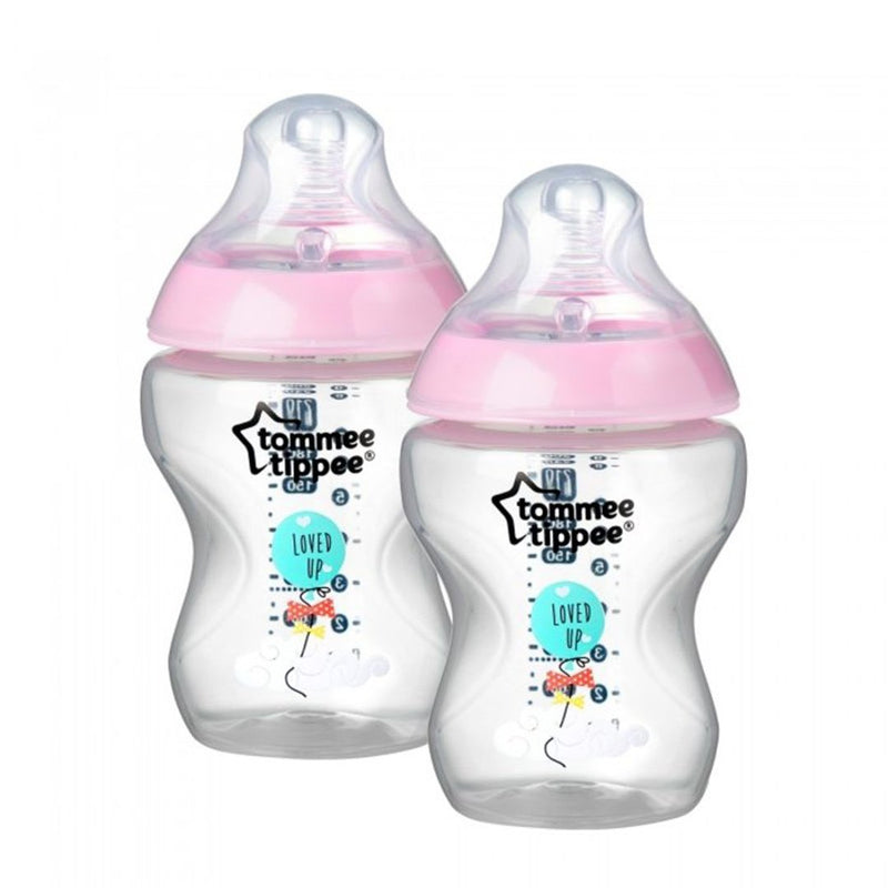 Tommee Tippee Closer To Nature Feeding Bottle Pink Set of 2 Pcs 260 ml Each
