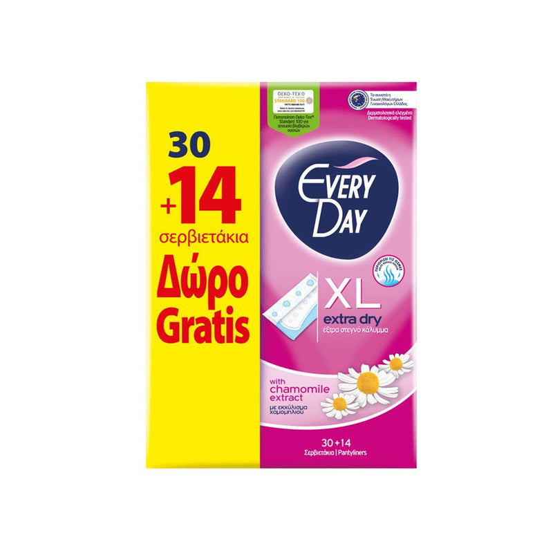 EveryDay Extra Dry Pads Extra Long, 30 pads + 14 Free